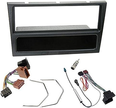 Sound-way Kit Montaje Autoradio, Marco 1 DIN Radio para Coche, Cable Adaptador Conector ISO, Adaptador Antena, Compatible con Opel Agila, Corsa, ...
