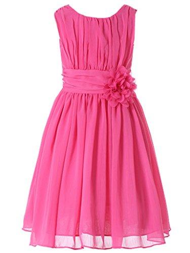 Bow Dream Little Girls Elegant Ruffle Chiffon Summer Flowers Girls Dresses Junior Bridesmaids Fuschia 8