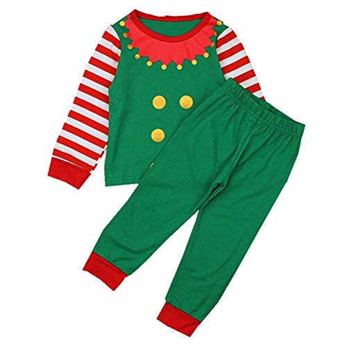 Family Kids Mathced Christmas Pajama Set Long Striped Sleeve Elf Top with Long Pant (Green, 18-24 Months)