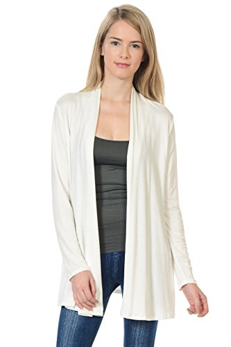 Pastel by Vivienne Women's Long Sleeve Jersey Cardigan Large Ivory ()