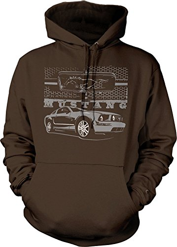 - MUSTANG PONY HOODIE GRILL WITH FORD CAR HOODED SWEATSHIRT , Brown, M
