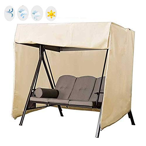 skyfiree Patio 3 Triple Swing Chair Cover Waterproof Durable Hammock Swing Glider Canopy Cover 87x49x67 inches All Whether Protection Outdoor Garden Furniture Covers (Beige)