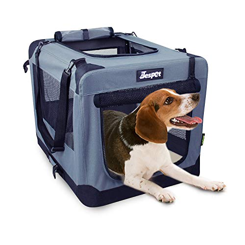JESPET Soft Dog Crates Kennel for Pets, 3 Door 36″ Soft Sided Folding Travel Pet Carrier with Straps and Fleece Mat for Dogs, Cats, Rabbits