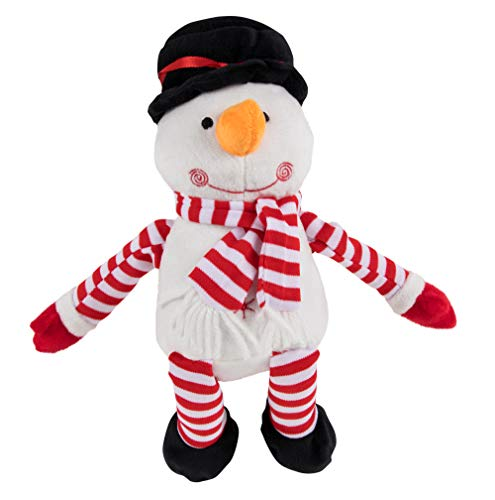 Snowman Plush Toy - Blizzard The Snowman Kids Soft Stuffed Toy, Fun Christmas Holiday Party Gifts Girls Boys, Festive Decoration, White, 7.7 x 7 Inches