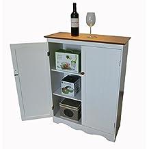 Homecharm-Intl 77x30x101-CM Utility Storage Cabinet with 2 Doors,White&Veneer Top (HC-012)