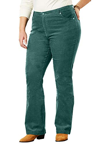 (Woman Within Women's Plus Size Stretch Corduroy Bootcut Jean - Dark Pine, 16 W)