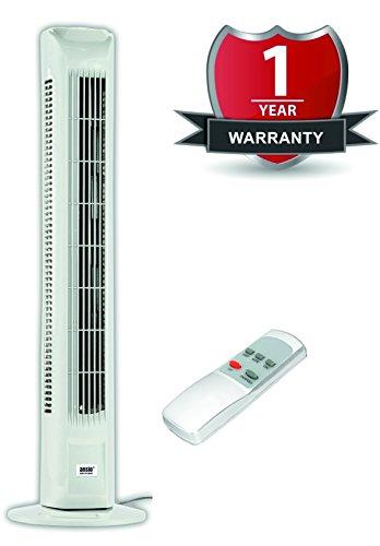 ANSIO® 30'' Oszillierend geräuscharmer Turmventilator mit Fernbedienung / 3 Unterschiedliche Programme / 12 Monate Garantie / Lange 1.8m Kabel / GS, RoHS, REACH & CE bescheinigt. Weiß