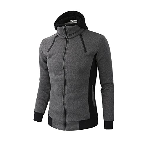 heaven2017 Fashion Men's Hoodies High-Necked Hooded Sport Casual Sweatshirt Jacket Coat Size M (Dark Gray)