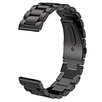 Gear S3 Frontier /Classic Band /Galaxy Watch 46mm Band, V-MORO 22mm Solid Steel Steel Business Business Pulsera Correa para Samsung Gear S3 Frontier /S3 Smartwatch clásico /Galaxy Watch 46mm R800 Negro