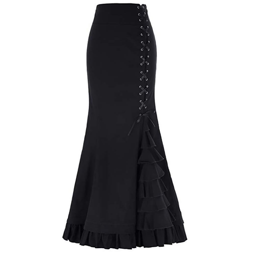 aab5a50c8 Amazon.com: Women Skirt Punk Vintage Gothic Ruffled Steampunk High Waist  Maxi Mermaid Style: Clothing