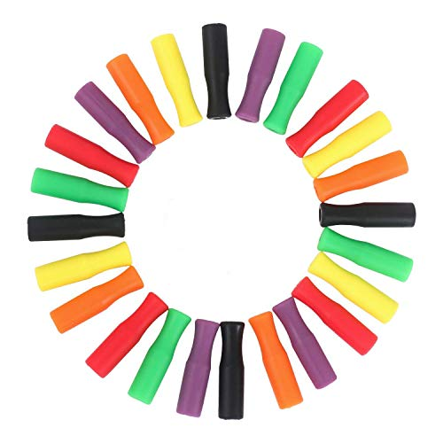 Silicone Straw Tips, STAR-FLY Food Grade Multicolored Straw Tips Cover for 1/4 (6 mm) Stainless Steel Drinking Straws (24-pack)