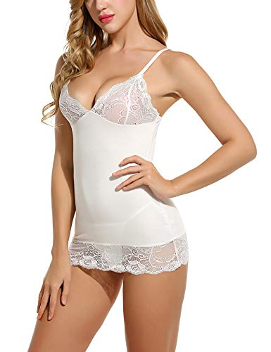 Avidlove Sleepwear Womens Chemise Nightgown Full Slip Lace Babydoll Lingerie Dress White XL