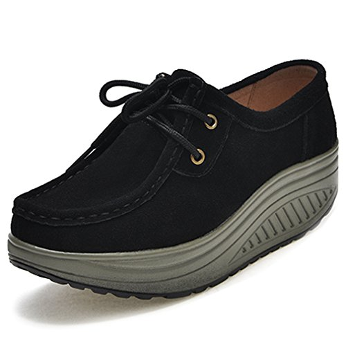 Orlancy Womens Lightweight Suede Lace-up Platform Wedge Casual Shoes Walking Fitness Shape - Black Shape Ups