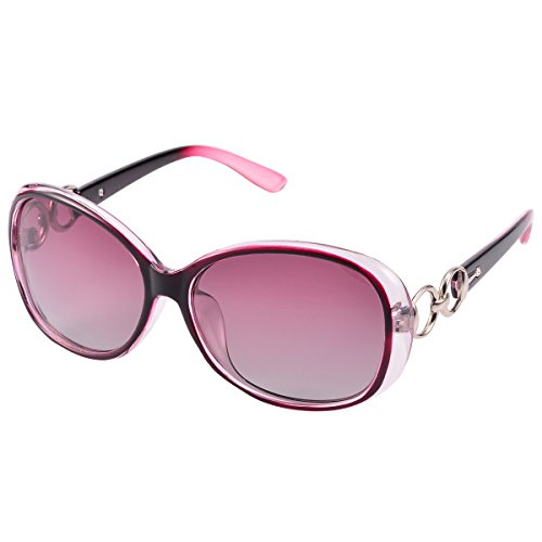 COASION Women's Classic Oversized Polarized Round Sunglasses 100% UV Protection (Purple, - Pads Sunglasses Nose Without