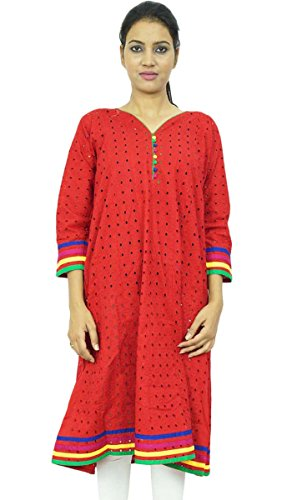 Algodón Kurti longitud de la rodilla de las mujeres del desgaste de Kurta indio bordado Ropa Granate