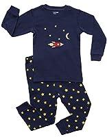 Leveret Boys Moon & Rocket 2 Piece Pajama 100% Cotton (Size 12M-8 Years)