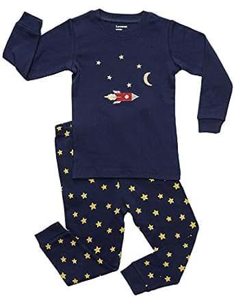 Leveret Moon & Rocket 2 Piece Pajama 2 Year