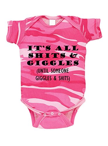 Speedy Pros It's All Shits & Giggles Until Someone Giggles & Shits Camo Baby Bodysuit Pink Woodland Newborn (Camo Woodland Infant)