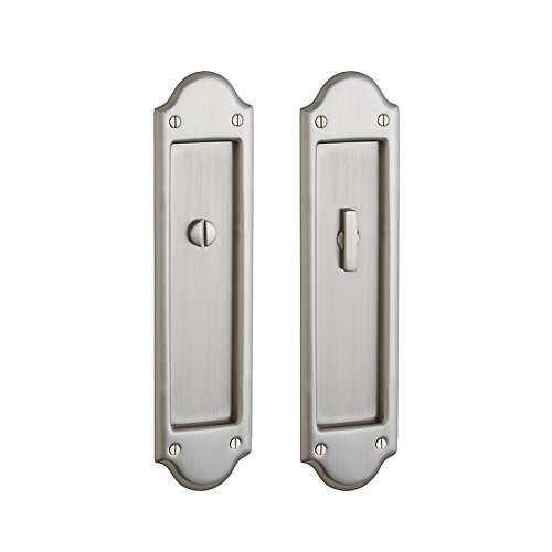 (Baldwin PD016.KT Boulder Style Pocket Door Interior Privacy Trim from the Estate, Satin Nickel)