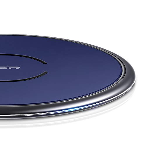 ESR Wireless Charger, Metal Frame Ultra-Thin Fast Charging Pad, 7.5W Compatible iPhone 11/11 Pro/11 Pro Max/XR/XS, 10W Fast Charging Galaxy S10/S10+/S10e/Note10, Google Pixel 4(No AC Adapter), Blue (Wireless-frames)