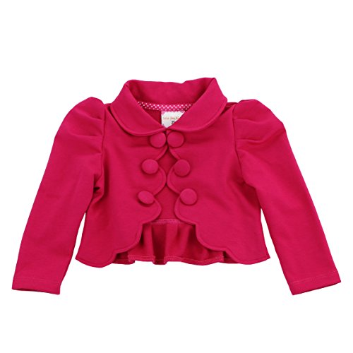 (LELEFORKIDS- Toddlers and Girls French Terry Knit Zuri Scalloped Trim Crop-Jacket in Hot Pink 7/8)