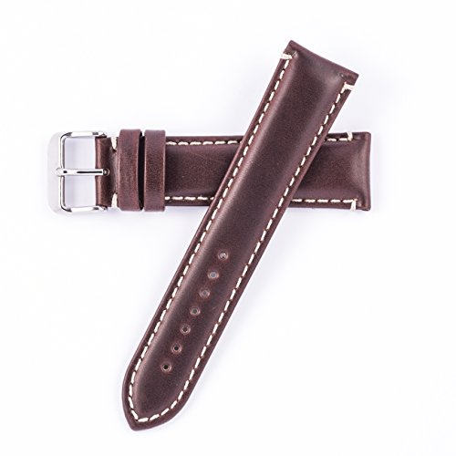 Hadley Roma MS885 22mm Long Watch Band Brown Oil Tan Leather Contrast Stitch (Brown Oil Tan Leather)