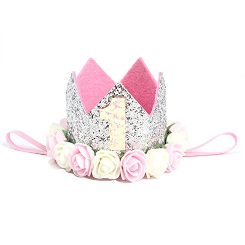 EMPHY 1st Birthday Party Crown Hat for Baby, High-peaked Head-dresses Tiara Rose Flower wreath-shaped Diadem (Type - Shape Head Types