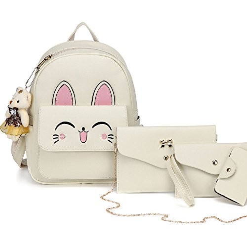 DIOMO Womens Cat Backpack Set Leather Multi-Way Girls School Backpack Cartoon Pendant (Beige)