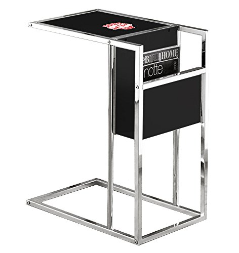 Logo Snack Table - TV Tray Magazine Rack with a Glass Shelf Slides-Under Your Couch Black and Chrome Finish Featuring Your Choice of a Vintage Gas Themed Logo (Junkyard)