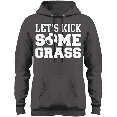 eden tee Let's Kick Some Grass Soccer Hoodie Charcoal ()
