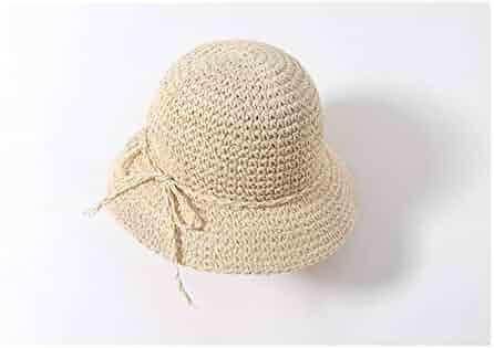 Yuchoi Sun Girls Bowknot Straw Hat Kids Wide-brimmed Hat Sun Protection Hat  Sun Visor 3eb0d793562c