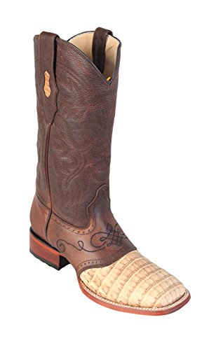 Men's Wide Square Toe Honey Greasy Finish Genuine Leather Caiman Belly w/Saddle Skin Western Boots