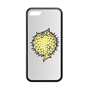 Cute Yellow Cartoon Bubble Fish Black Phone Case for iphone 6 4.7 inch