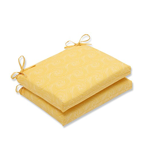 Pillow Perfect Outdoor/Indoor Nabil Sunflower Squared Corners Seat Cushion (Set of 2)