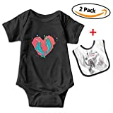 Leopoldson Narwhal Couple Heart Baby Short Sleeve Bodysuits Onesies with Baby Bib