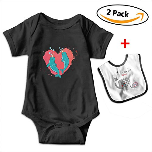 Leopoldson Narwhal Couple Heart Baby Short Sleeve Bodysuits Onesies with Baby Bib by Leopoldson