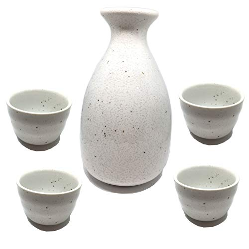 - Japanese sake set 5 piece set,white sake bottle