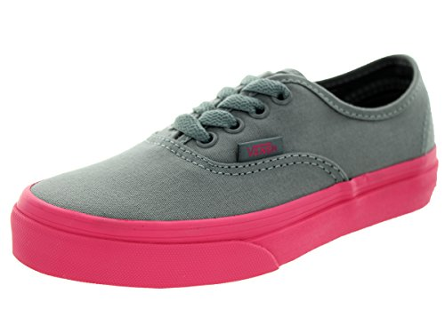 Vans Kids Authentic Canvas Shoes POP OUTSOLE FROST GRAY HOT PINK