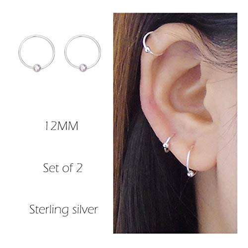 Sterling Silver Cartilage Earrings Piercing Earring Nose Rings Hoop for Women Men Girls