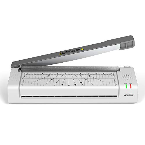 JZBRAIN Laminator Machine, Laminating Machine A3 A4 B6 A6 with Trimmer and Corner Rounder for Home/Office/Teachers, Jam-Release ABS Button (Gray, 20 Pouches Included)
