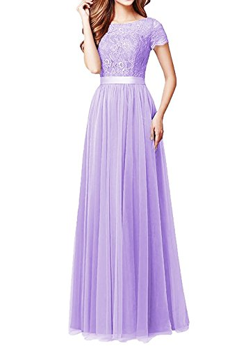 Prom Aurora Gown (Aurora Bridal Women's Lace Short Sleeves Prom Dresses 2018 Long Formal Evening Gowns Size 18 Light Purple)