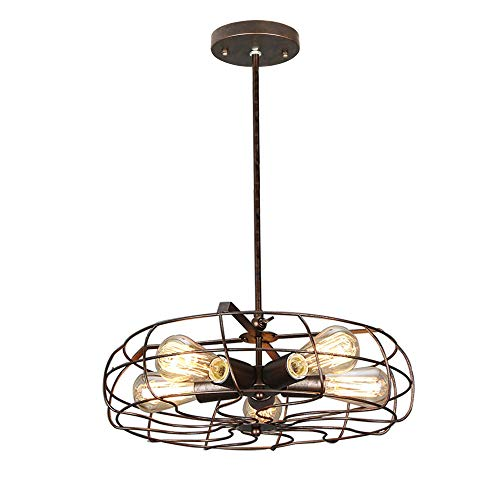 NIUYAO Industrial Vintage Barn Rustic Pendant Light Metal Hanging Ceiling Chandelier with 5 Lights Painted Finish