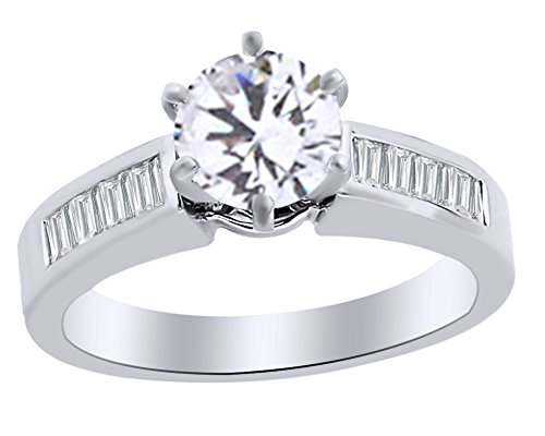 Christmas Holiday Sale Baguette Cut White Natural Diamond Semi Mount Solitaire Engagement Ring In 14K White Gold (0.5 cttw) Ring Size-12.5