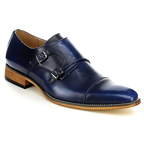 Beston EA28 Men's Double Monk Strap Slip On Dress Shoes, Color:ROYAL BLUE, Size:8.5