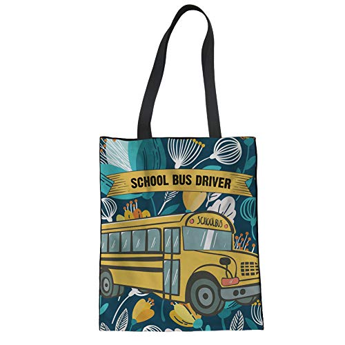 STARTERY Cotton Reusable Shopping Bag, School Bus Driver Style Heavy Duty Canvas Grocery Bag for Women