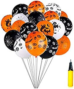 100 Pieces 12 Inches Halloween Latex Balloons Bat Pumpkin Spider Web Balloons for Home Party Decoration, Black, White, Orange with a Air Pump