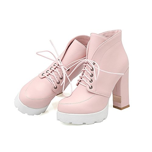 Toe Allhqfashion Soft Women's high Boots Ankle Material Round Closed up Pink Heels High Lace xx05rwqp