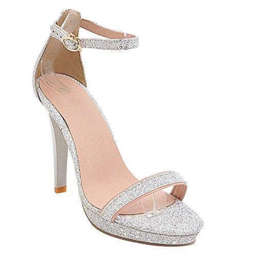 Carolbar Women's Fashion Sequins Ankle Strap High Heel Buckle Dress Sandals Silver