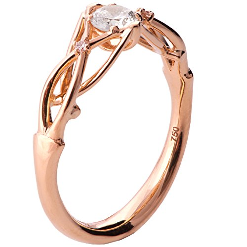 18k White Gold Celtic Knot (Solid 18K Rose Gold and Diamonds Three Stone Knot Engagement Ring For Women Unique Sets Promise Band Celtic Woven Braided)