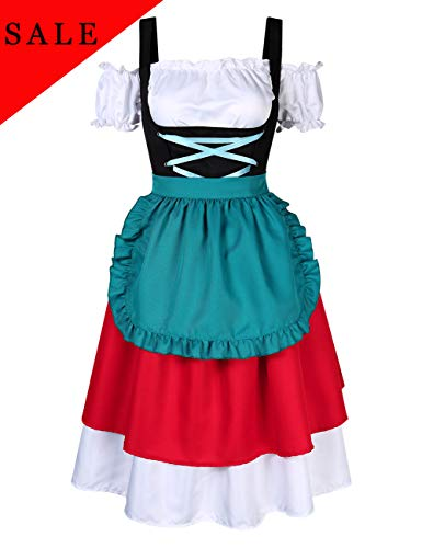 GloryStar Women's German Dirndl Dress Costumes for Bavarian Oktoberfest Carnival Halloween (XL, Red/Green-2) ()